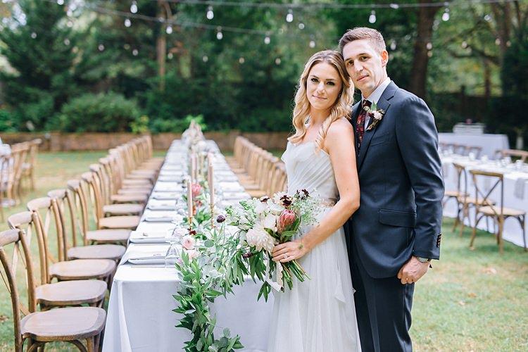 Festoon Lighting Bride Groom Bohemian Outdoor Greenery Wedding Georgia http://www.sowingclover.com/