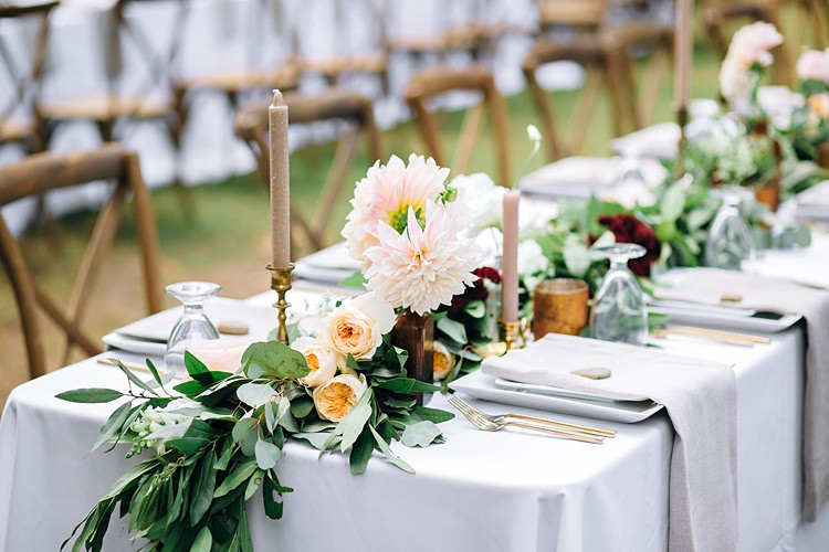 Centre Piece Table Decoration Candles Bohemian Outdoor Greenery Wedding Georgia http://www.sowingclover.com/