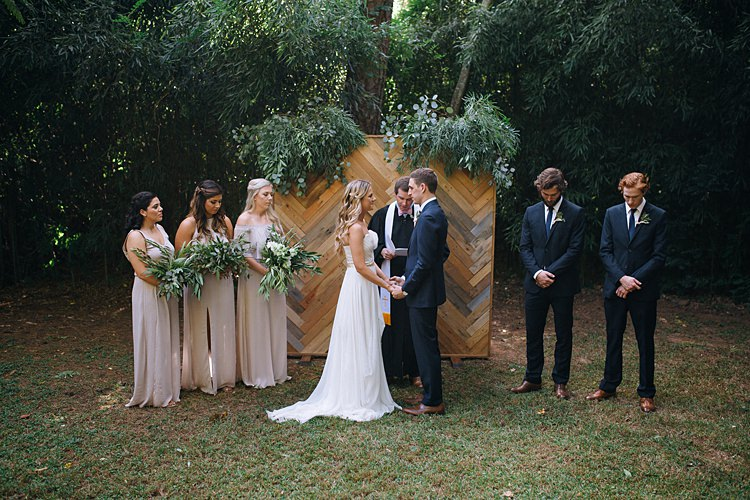Ceremony Vows Bridal Party Bohemian Outdoor Greenery Wedding Georgia http://www.sowingclover.com/