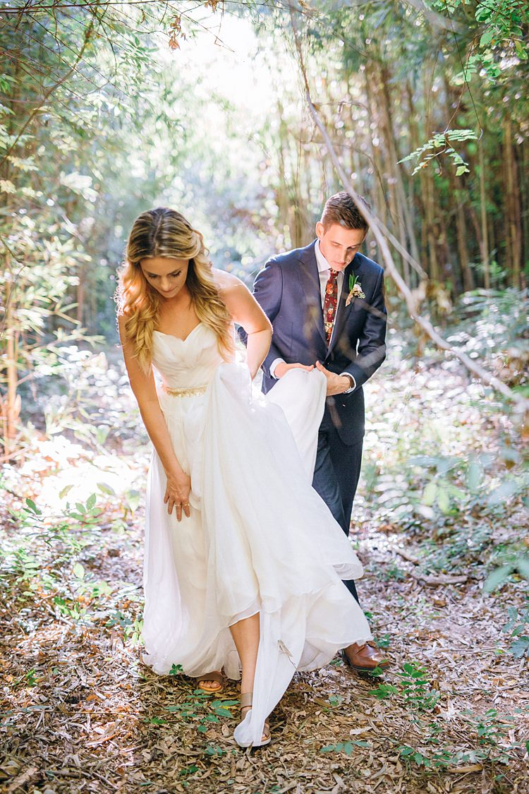 Bride Groom Forest Dress Lifted Bohemian Outdoor Greenery Wedding Georgia http://www.sowingclover.com/