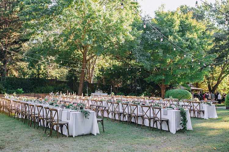 Banquet Tables Festoon Lighting Bohemian Outdoor Greenery Wedding Georgia http://www.sowingclover.com/