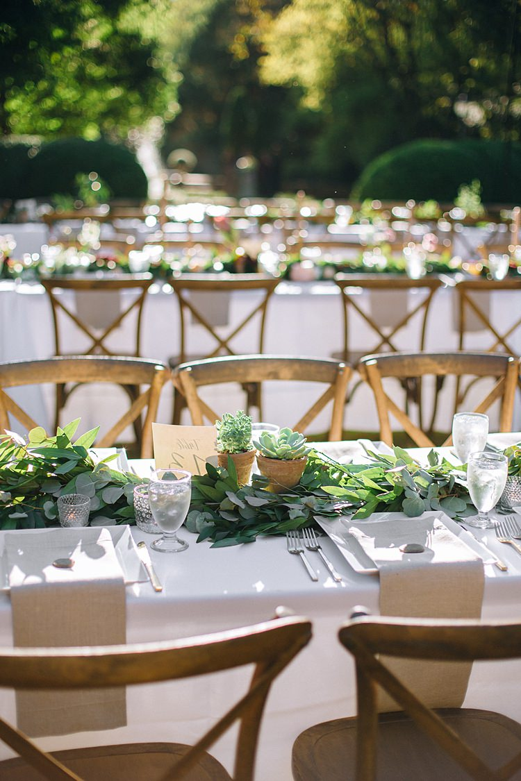 Table Decoration Plants Bohemian Outdoor Greenery Wedding Georgia http://www.sowingclover.com/