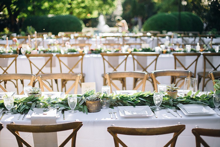 Table Decoration Bohemian Outdoor Greenery Wedding Georgia http://www.sowingclover.com/