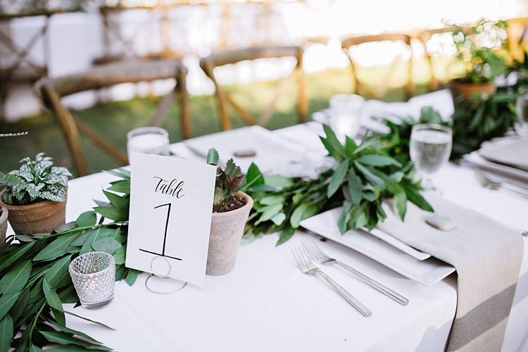 Table Decoration Numbers Plants Bohemian Outdoor Greenery Wedding Georgia http://www.sowingclover.com/