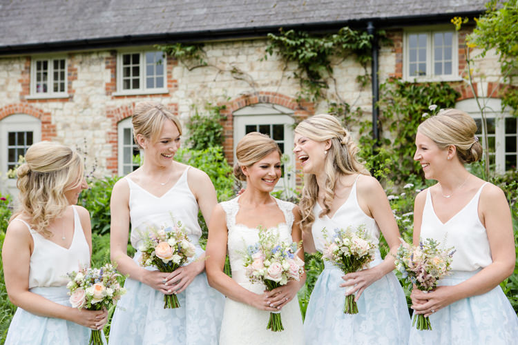 Bride Bridal Paloma Blanca Dress Gown Bridesmaids Ice Blue Prom Skirt Coast Topshop Vest Pretty Relaxed Lavender Country Wedding http://www.lydiastampsphotography.com/