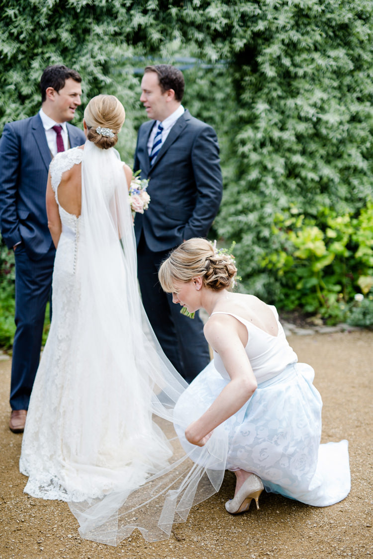 Bride Bridal Dress Gown Keyhole Paloma Blanca Cathedral Veil Chignon Hairpiece Pretty Relaxed Lavender Country Wedding http://www.lydiastampsphotography.com/