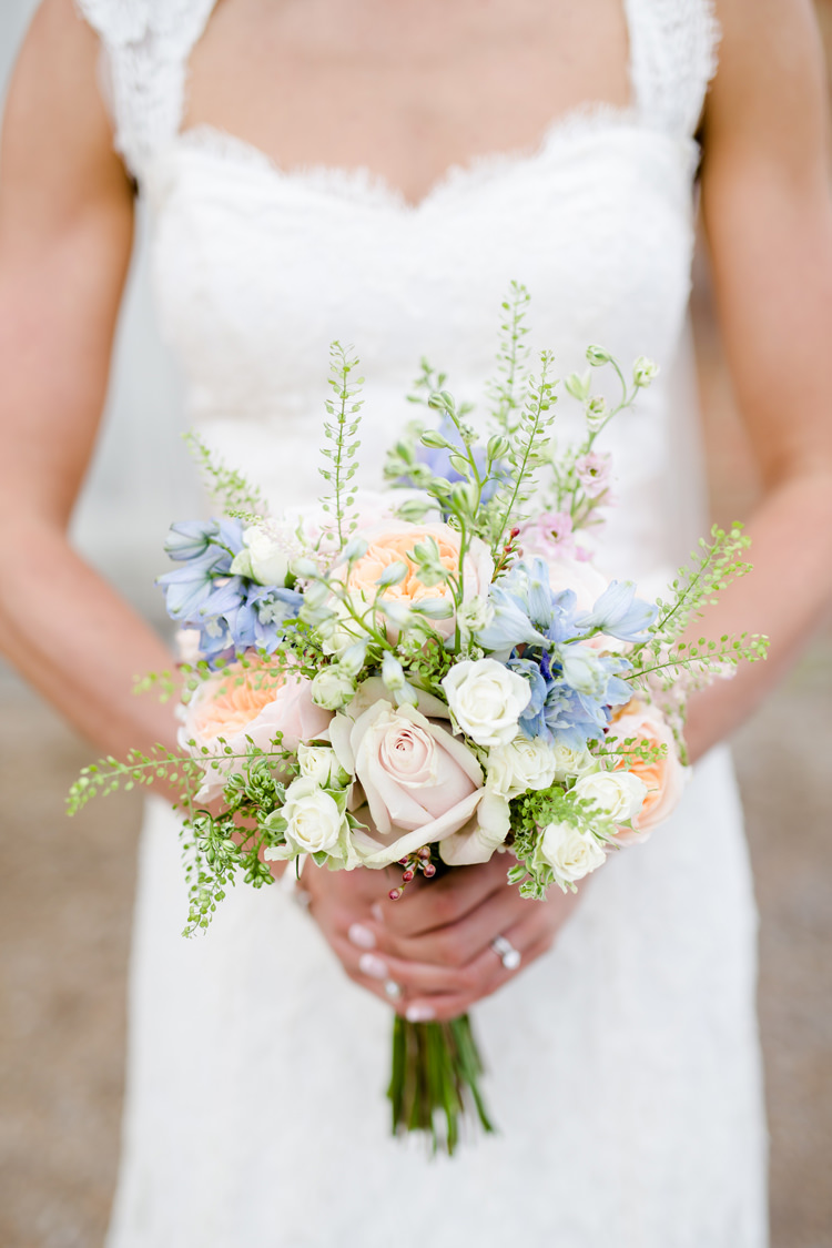 Bride Bridal Bouquet Floral Rose Stocks Blush Pastel Pretty Relaxed Lavender Country Wedding http://www.lydiastampsphotography.com/