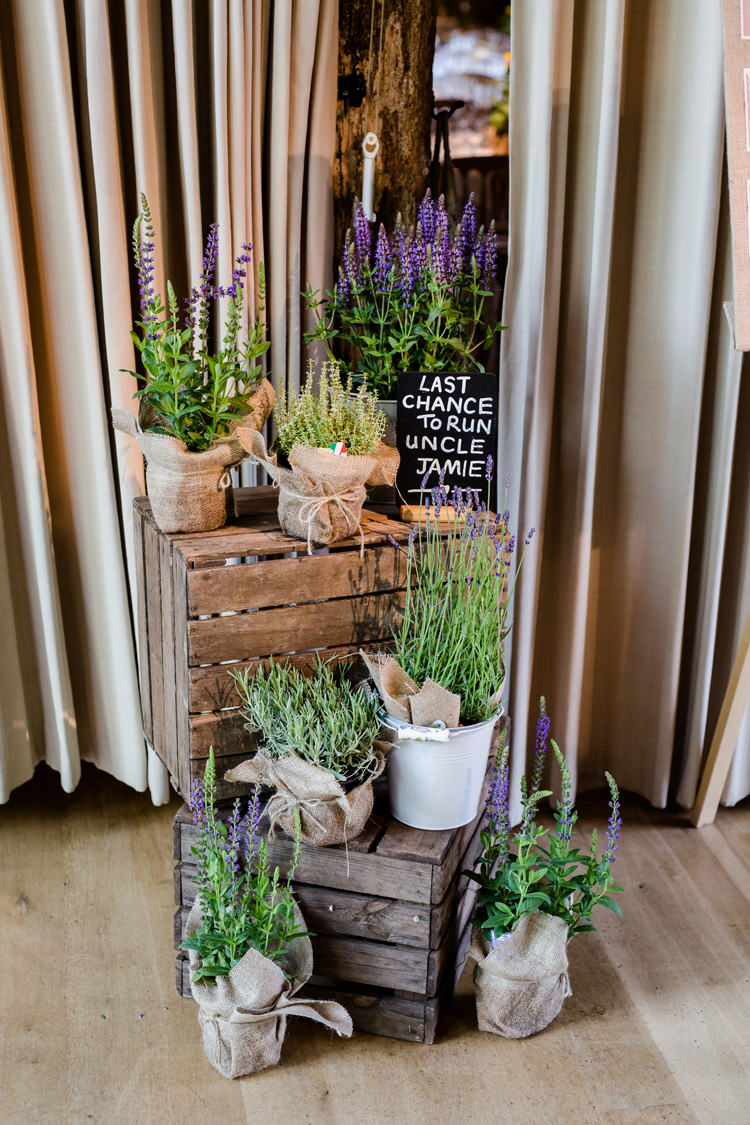 Lavender Pot Hessian Twine Wood Crate Stack Pail Chalk Board Sign Funny Humourous Pretty Relaxed Lavender Country Wedding http://www.lydiastampsphotography.com/
