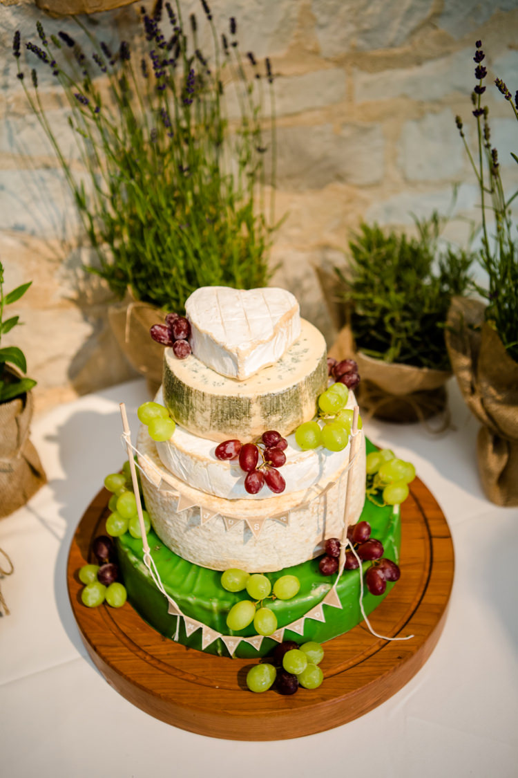 Cake Table Cheese Tiered Stack Pretty Relaxed Lavender Country Wedding http://www.lydiastampsphotography.com/