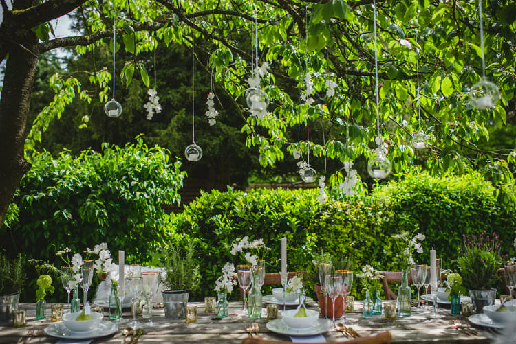 Hanging Tea Lights Decor Garden of Hygge Wedding Ideas http://www.sophieduckworthphotography.com/