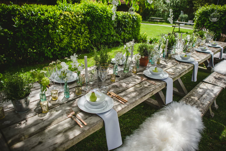 Tablescape Decor Table Flowers Cutlery Plates Candles Pot Plants Garden of Hygge Wedding Ideas http://www.sophieduckworthphotography.com/