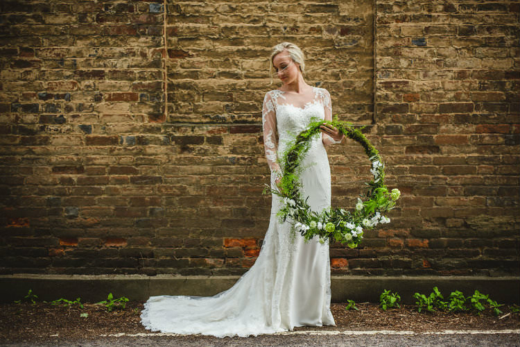 Greenery Foliage Flowers Bride Bridal Hoop Wreath Garden of Hygge Wedding Ideas http://www.sophieduckworthphotography.com/