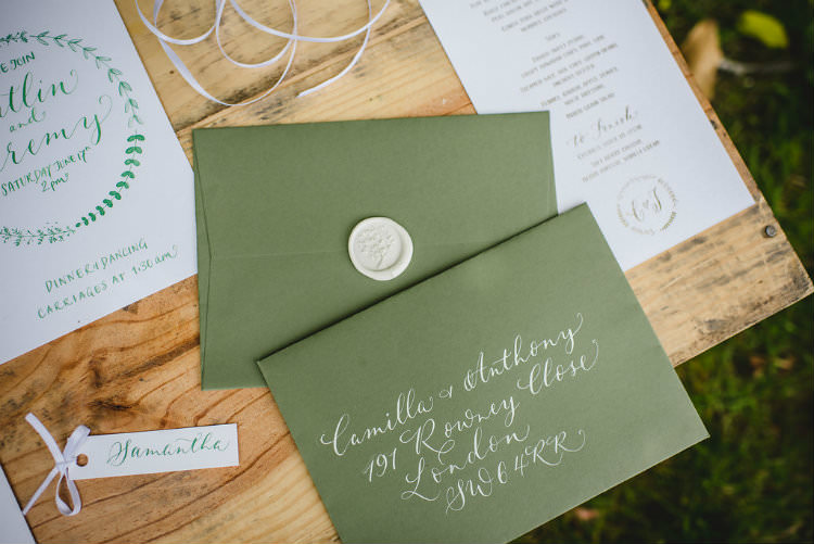 Calligraphy Stationery Invitation Invite Envelope Wax Seal Garden of Hygge Wedding Ideas http://www.sophieduckworthphotography.com/