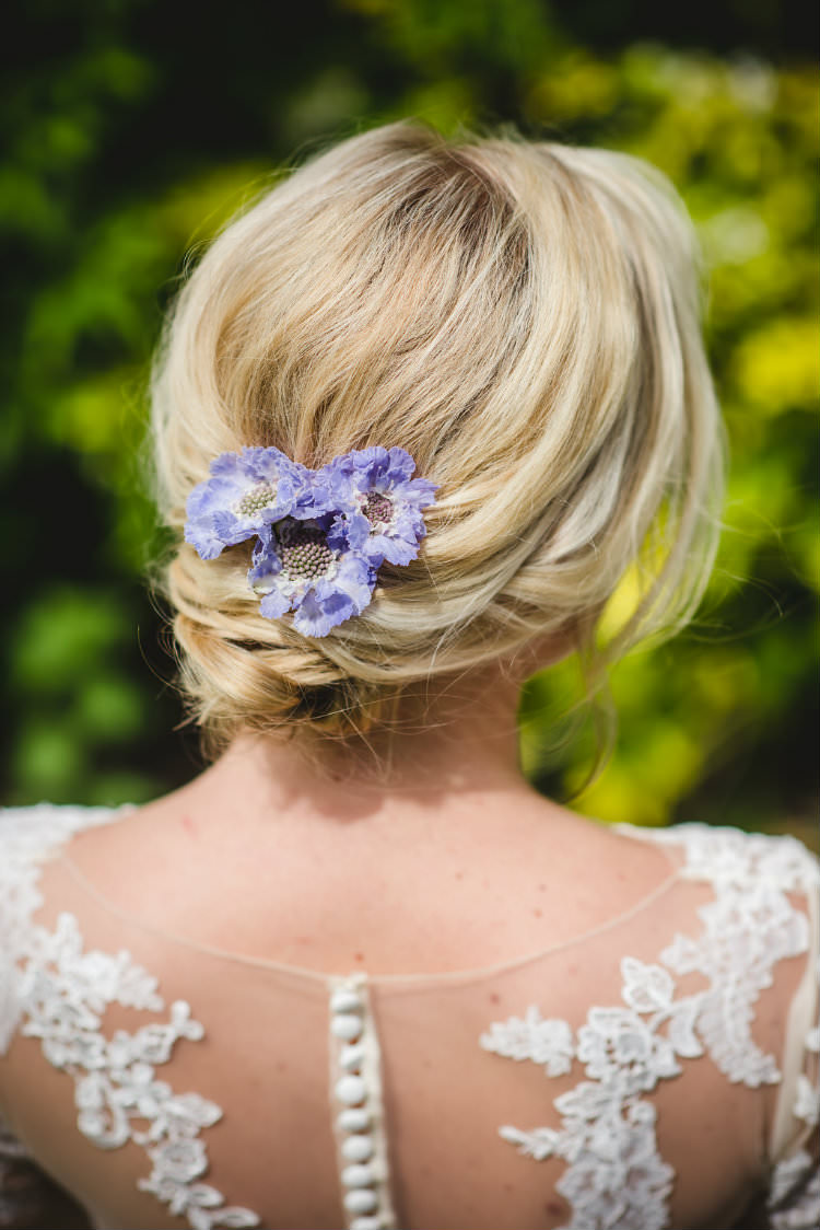 Bride Bridal Hair Style Up Do Flowers Garden of Hygge Wedding Ideas http://www.sophieduckworthphotography.com/