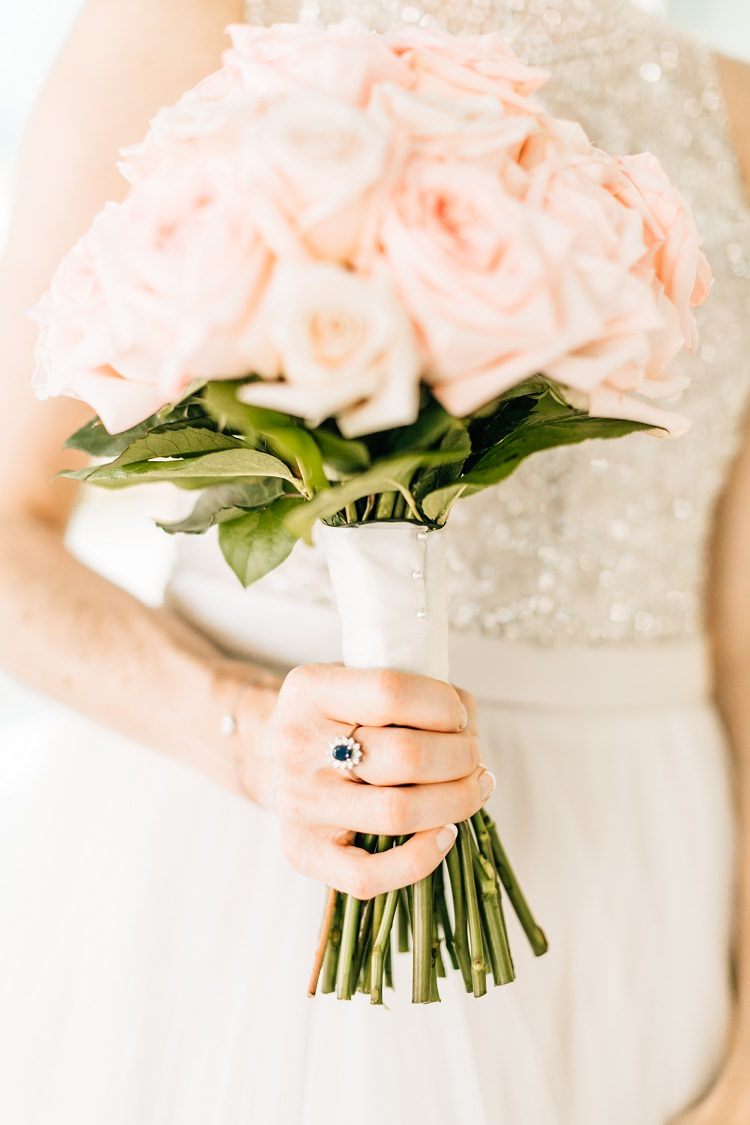 Rose Blush Bouquet Sapphire Ring Pink Gold Flamingos Pineapples Florida Destination Wedding http://www.findinglightphotography.com/