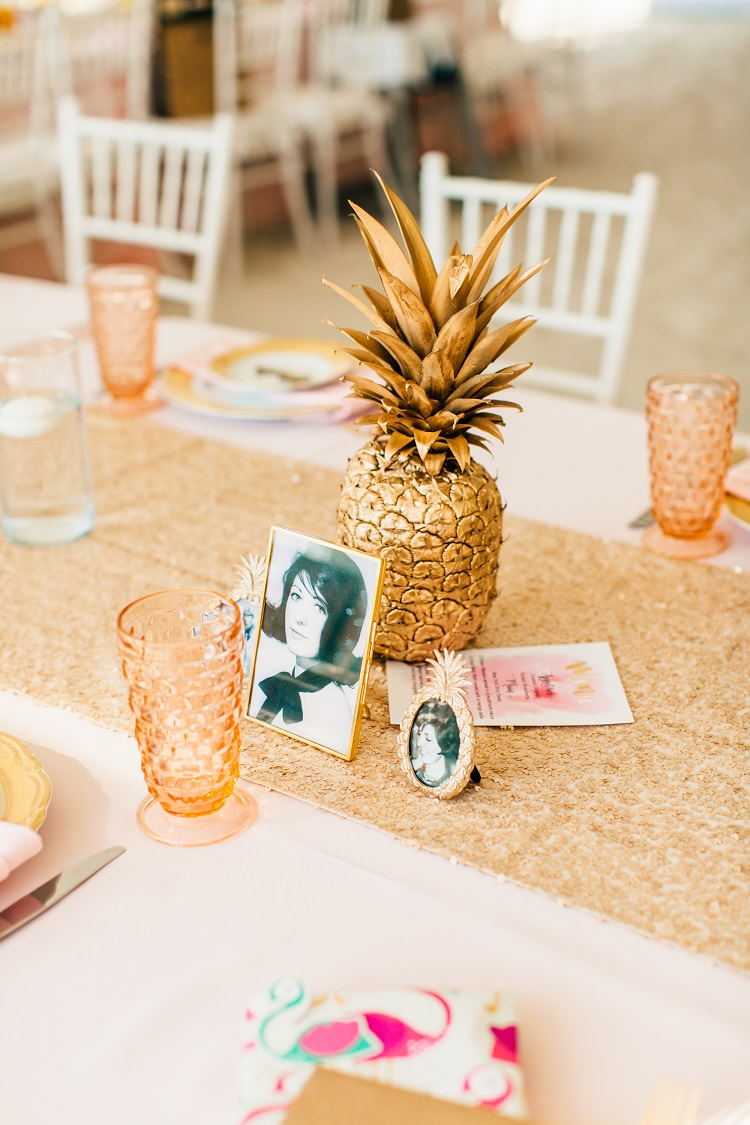 Sequin Table Runner Sparkly Sprayed Pineapple Coloured Glass Vintage Photos Frame Pink Gold Flamingos Pineapples Florida Destination Wedding http://www.findinglightphotography.com/
