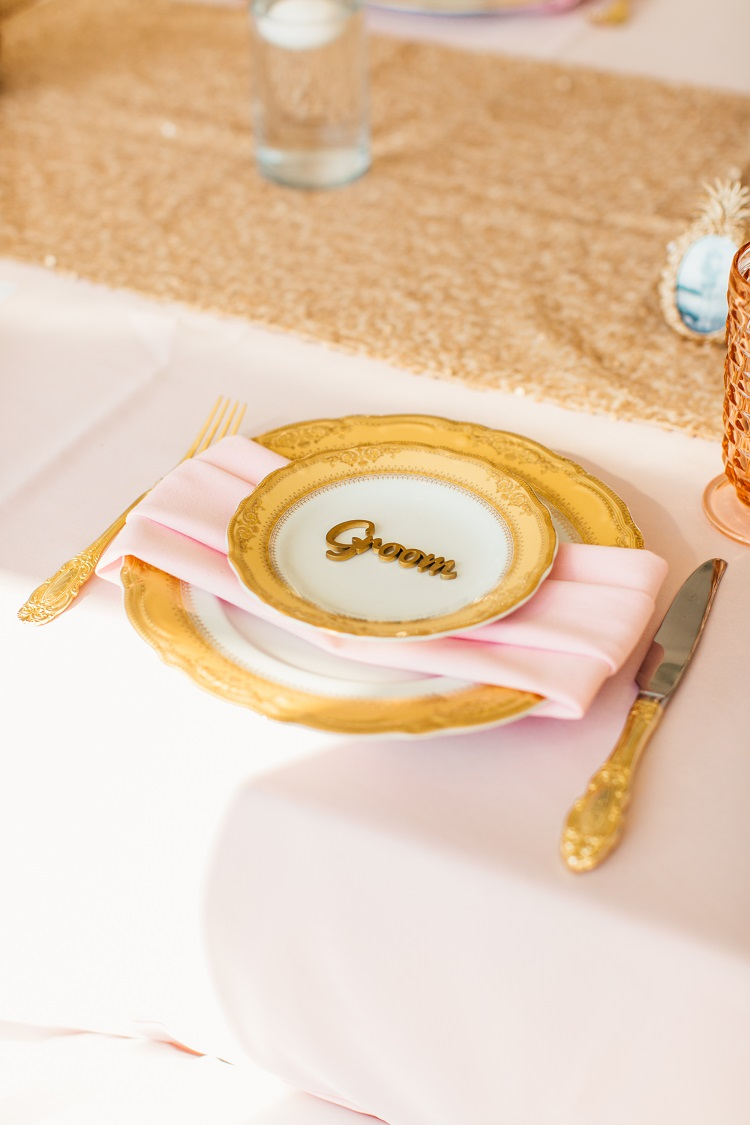 Table Setting Cutlery Sparkly Sequin Runner Laser Cut Place Name Pink Gold Flamingos Pineapples Florida Destination Wedding http://www.findinglightphotography.com/