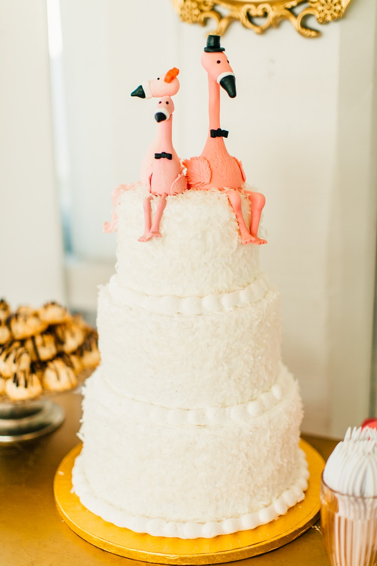 Cake Table Coconut Tiered Flamingo Icing Pink Gold Flamingos Pineapples Florida Destination Wedding http://www.findinglightphotography.com/
