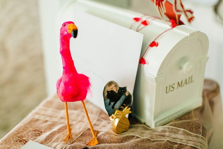 Mail Post Box Cards Gifts Table Pink Gold Flamingos Pineapples Florida Destination Wedding http://www.findinglightphotography.com/