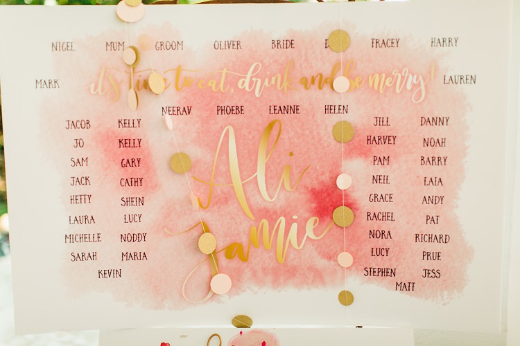 Table Plan Seating Chart Modern Calligraphy Watercolour Pink Gold Flamingos Pineapples Florida Destination Wedding http://www.findinglightphotography.com/