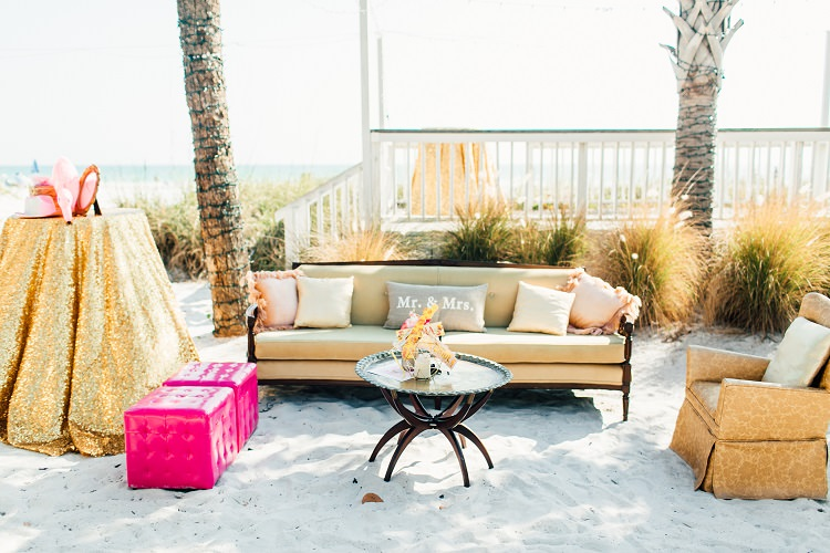 Sparkly Sequin Poseur Table Sofa Relaxed Seating Beach Armchair Pink Gold Flamingos Pineapples Florida Destination Wedding http://www.findinglightphotography.com/