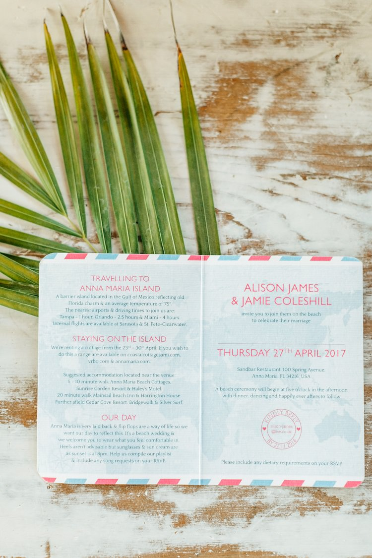 Customised Passport Running Order of Day Pink Gold Flamingos Pineapples Florida Destination Wedding http://www.findinglightphotography.com/