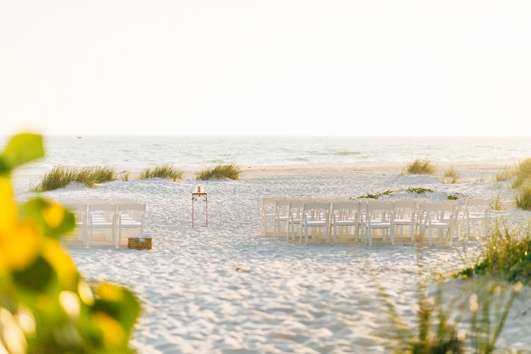 Beach Ceremony Simple Pink Gold Flamingos Pineapples Florida Destination Wedding http://www.findinglightphotography.com/
