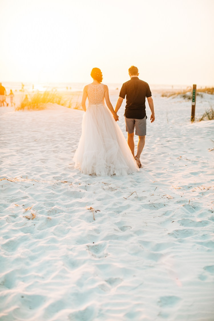 Madison James Bride Bridal Gown Dress Embellished Beading Tulle Alexander McQueen Shirt Reiss Shorts Groom Beach Pink Gold Flamingos Pineapples Florida Destination Wedding http://www.findinglightphotography.com/
