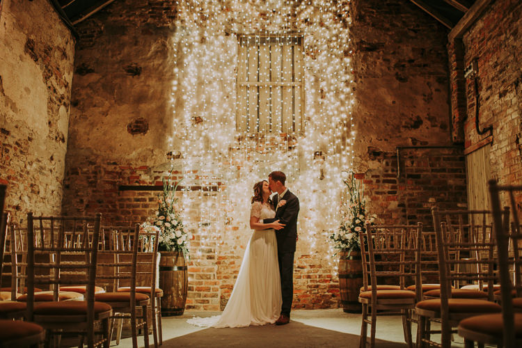 Fairy Lights Decor Bride Groom Rustic Charm Contemporary Pastel Barn Wedding http://www.bloomweddings.co.uk/