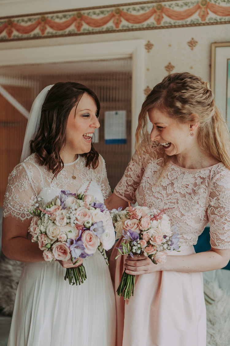 Pale Pink Lace Bridesmaid Top Skirt Rustic Charm Contemporary Pastel Barn Wedding http://www.bloomweddings.co.uk/