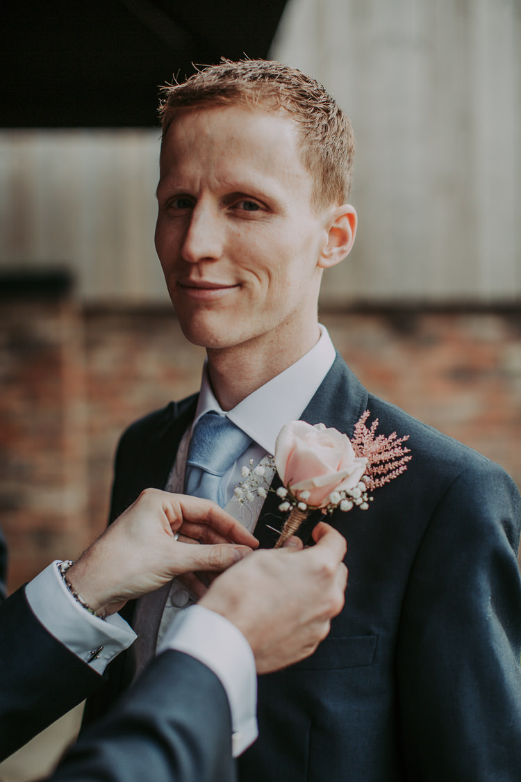 Pink Rose Astilbe Buttonhole Groom Rustic Charm Contemporary Pastel Barn Wedding http://www.bloomweddings.co.uk/