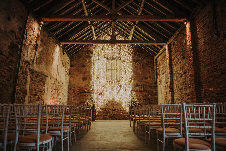 Fairy Lights Ceremony Yorkshire The Normans Rustic Charm Contemporary Pastel Barn Wedding http://www.bloomweddings.co.uk/