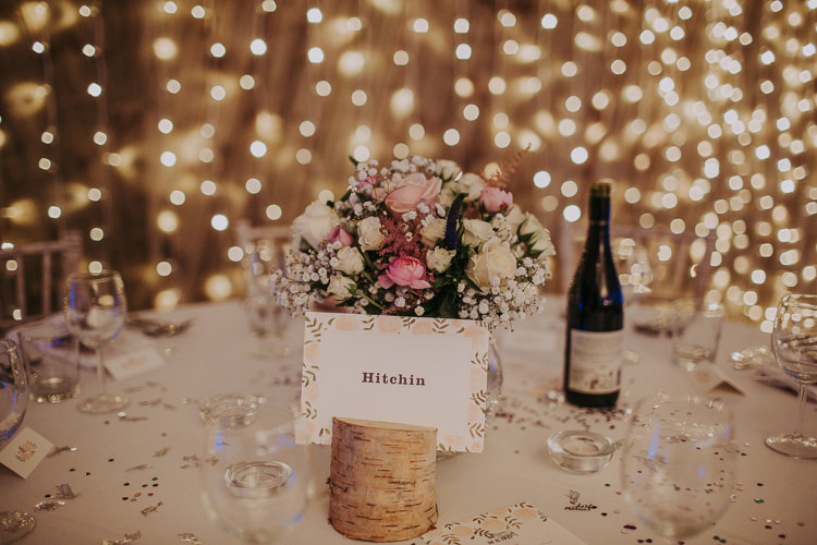 Table Name Log Slice Rustic Charm Contemporary Pastel Barn Wedding http://www.bloomweddings.co.uk/