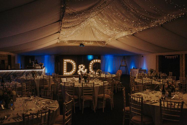 Marquee Lights Fairy Lighting Rustic Charm Contemporary Pastel Barn Wedding http://www.bloomweddings.co.uk/