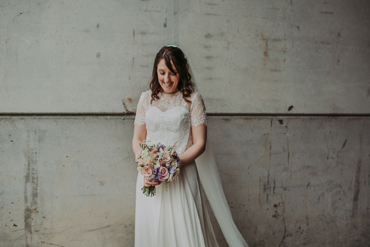 Catherine Deane Bride Bridal Dress Skirt Top Lace Sleeves Veil Rustic Charm Contemporary Pastel Barn Wedding http://www.bloomweddings.co.uk/