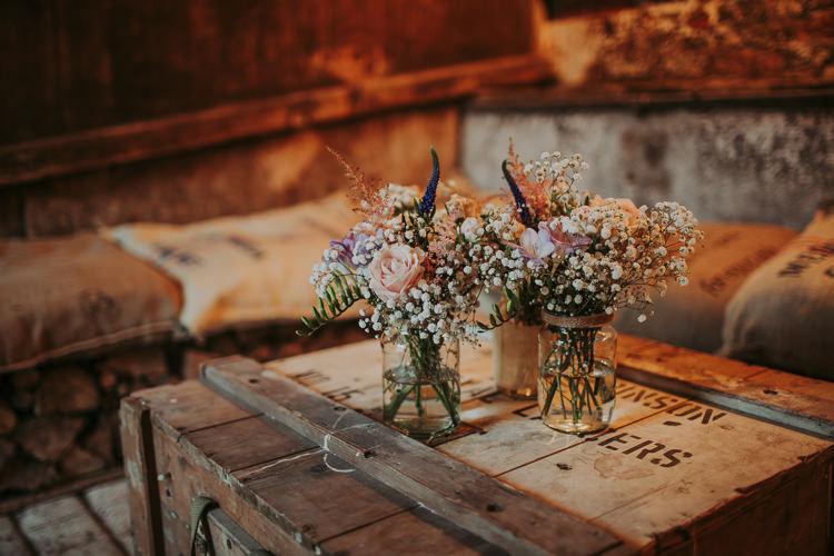 Jar Flowers Rustic Charm Contemporary Pastel Barn Wedding http://www.bloomweddings.co.uk/
