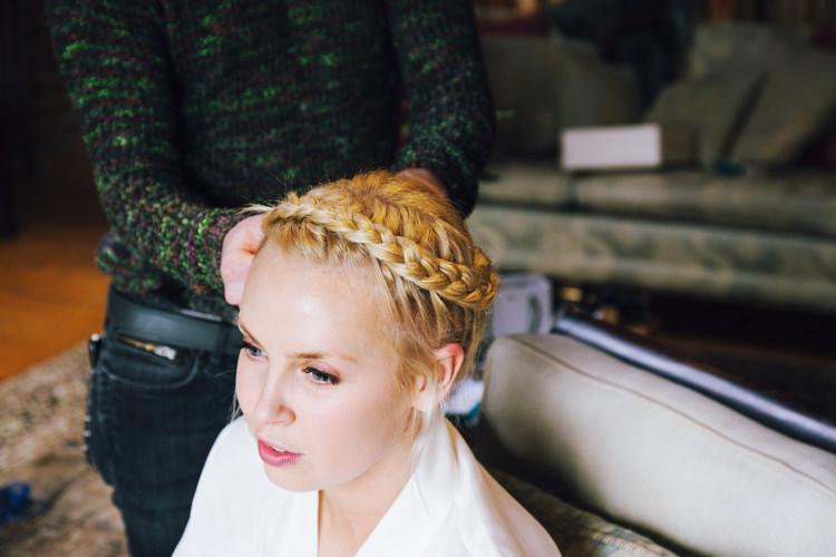 Bride Bridal Hairstyle Plait Up Do Relaxed Bohemian Spring Barn Wedding http://emilytylerphotography.com/