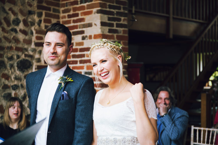 Bride Bridal Grace Loves Lace Gown Dress Flower Crown Ben Sherman Groom Relaxed Bohemian Spring Barn Wedding http://emilytylerphotography.com/
