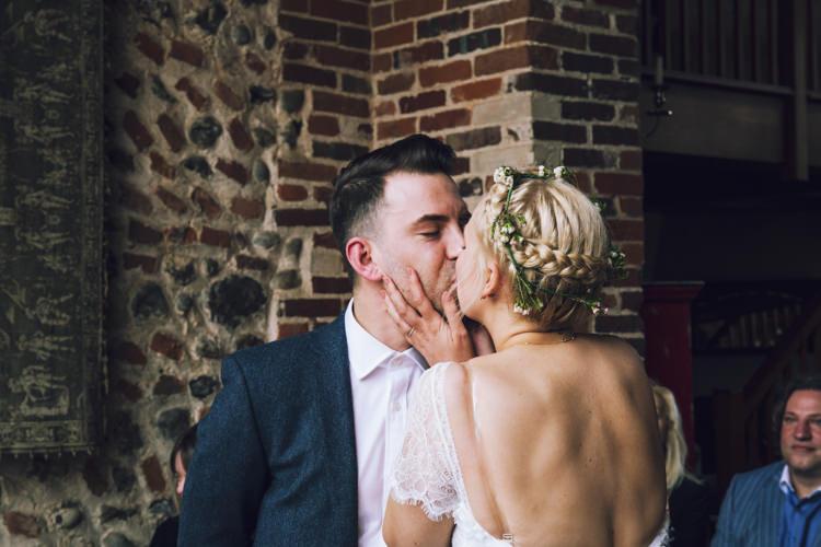 Bride Bridal Grace Loves Lace Gown Dress Flower Crown Ben Sherman Groom Plait Up Do Relaxed Bohemian Spring Barn Wedding http://emilytylerphotography.com/