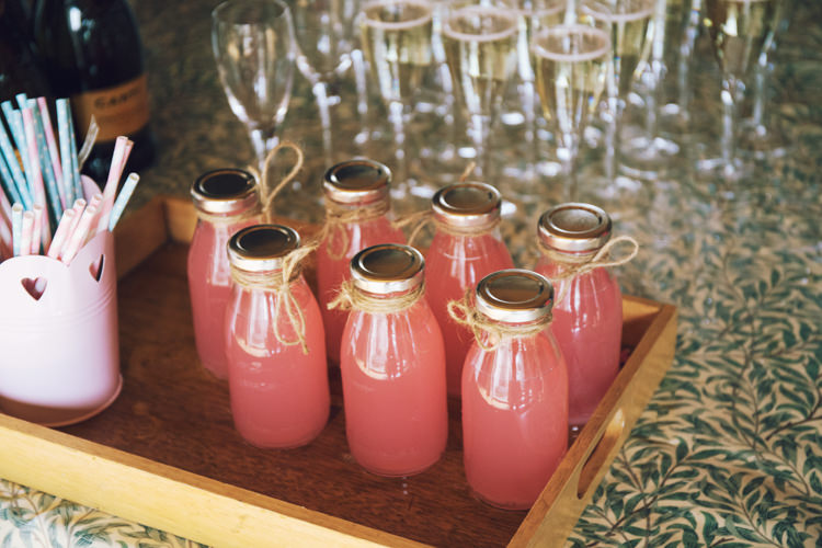 Pink Lemonade Milk Bottle Twine Stripy Straws Kids Non-Alcoholic Relaxed Bohemian Spring Barn Wedding http://emilytylerphotography.com/