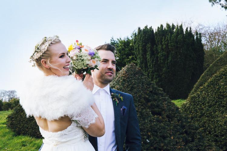 Bride Bridal Grace Loves Lace Gown Dress Flower Crown Ben Sherman Groom Fur Shrug Stole Relaxed Bohemian Spring Barn Wedding http://emilytylerphotography.com/