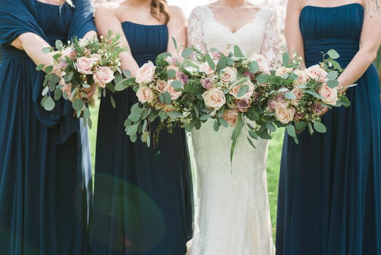 Essense of Australia Dress Gown Bride Bridal Navy Blue Bridesmaids Bouquet Eucalyptus Rose Pink Blush Classic Spring Cherry Blossom Wedding http://www.hannahmcclunephotography.com/