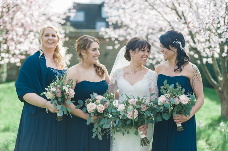 Bride Bridal Essense of Australia Gown Dress Long Sleeves Veil Bouquet Eucalptus Rose Blush Pink Navy Blue Bridesmaids Classic Spring Cherry Blossom Wedding http://www.hannahmcclunephotography.com/