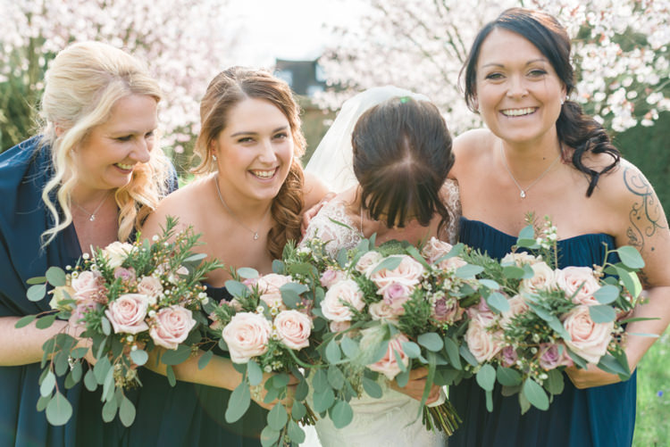 Bride Bridal Essense of Australia Gown Dress Long Sleeves Veil Bouquet Eucalyptus Rose Blush Pink Navy Blue BridesmaidsClassic Spring Cherry Blossom Wedding http://www.hannahmcclunephotography.com/