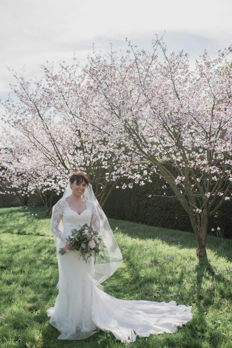 Bride Bridal Essense of Australia Gown Dress Long Sleeves Veil Bouquet Eucalyptus Rose Blush Pink Classic Spring Cherry Blossom Wedding http://www.hannahmcclunephotography.com/