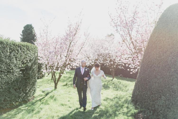 Bride Bridal Essense of Australia Gown Dress Long Sleeves Veil Hugo Boss Groom Classic Spring Cherry Blossom Wedding http://www.hannahmcclunephotography.com/