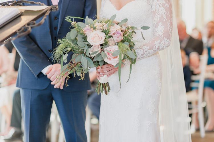 Bride Bridal Essense of Australia Gown Dress Long Sleeves Veil Bouquet Eucalptus Rose Blush Pink Classic Spring Cherry Blossom Wedding http://www.hannahmcclunephotography.com/