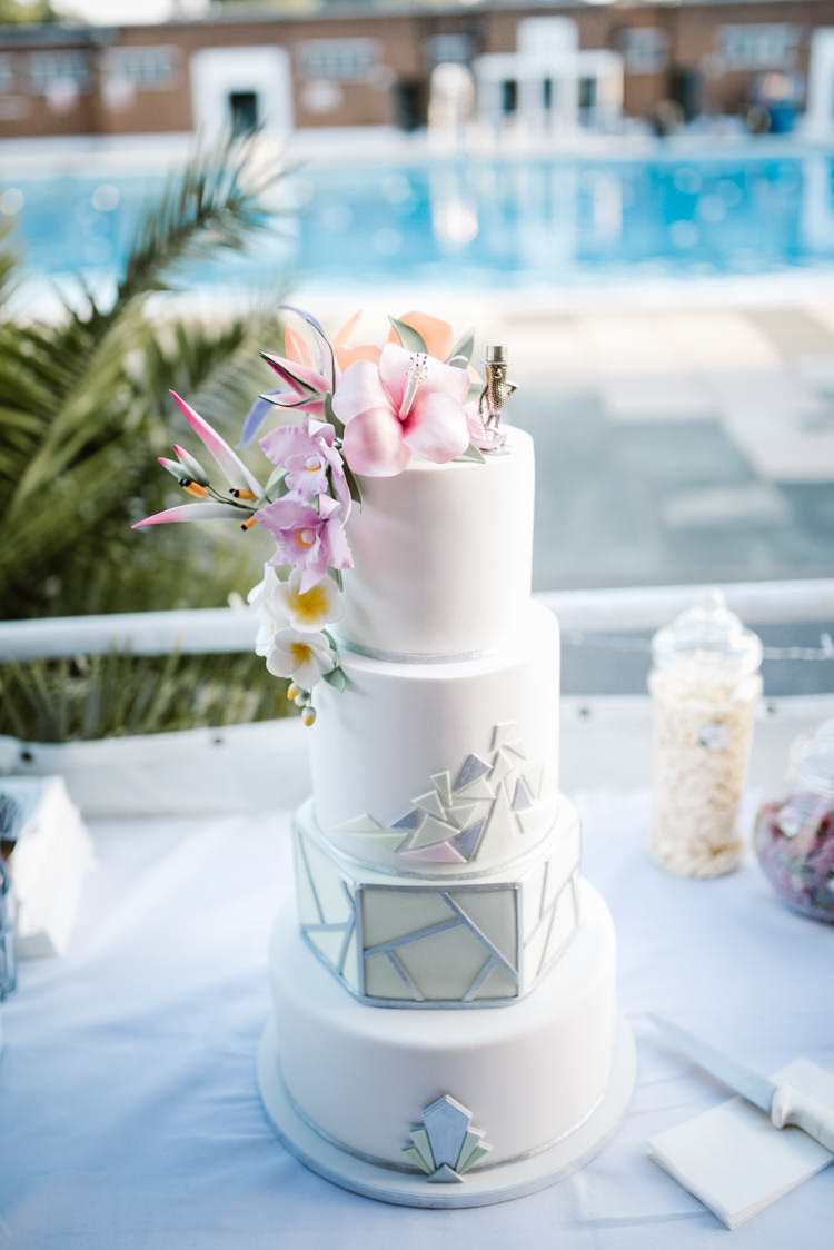 Topical Art Deco Gatsby 20s 30s Modern Cake Laid Back Local London Lido Wedding http://andrewbrannanphotography.co.uk/