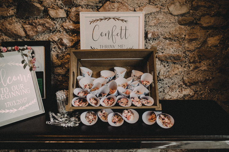 Confetti Cones Crate Petals Woodland Lavender Spring Country Wedding http://www.carlablainphotography.co.uk/
