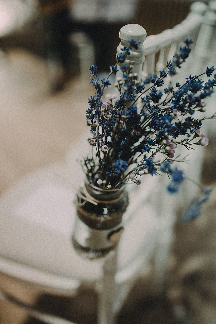 Lavender Jars Flowers Chairs Decor Pew End Woodland Lavender Spring Country Wedding http://www.carlablainphotography.co.uk/